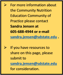 Community Nutrition Education Contact Information